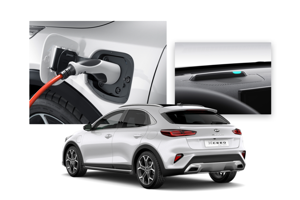 Side view of the Kia Xceed and shots of its charging point and charging monitor