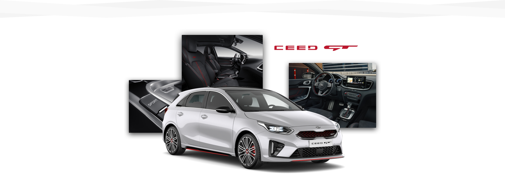 Side view of the Kia Ceed GT and shots of its interior and various controls