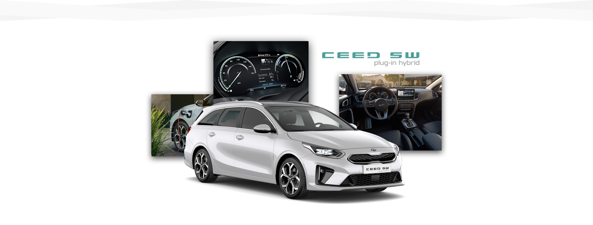 Side view of the Kia Ceed Sportswagon Plug-in Hybrid and shots of its cabin and its charging point