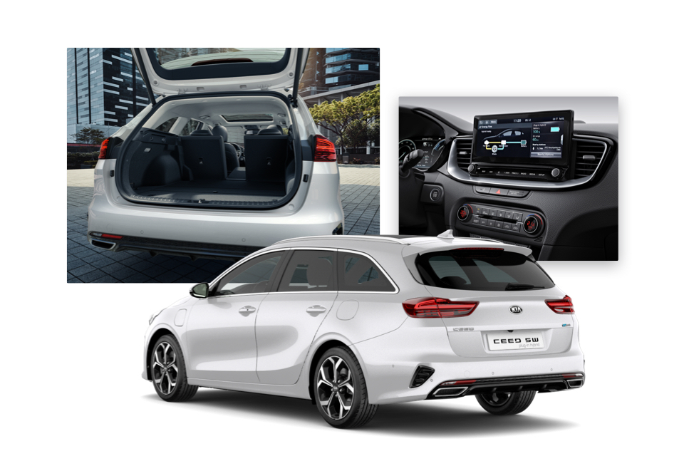 Side view of the Kia Ceed Sportswagon Plug-in Hybrid and shots of its luggage space and navigation screen