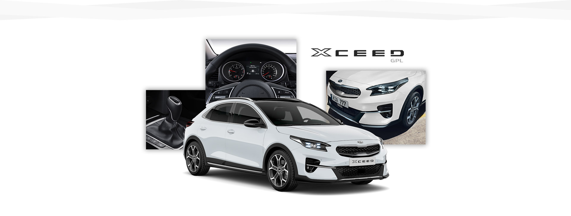 Side view of the Kia Xceed and shots of its interior and various controls